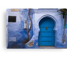 Blue Door in Blue Wall  Canvas Print
