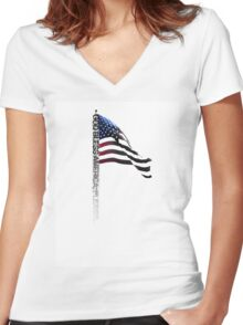 God Bless America Please - Typography Shirt Women's Fitted V-Neck T-Shirt