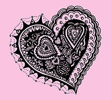 Valentine Heart 2 Angled Aussie Tangle by Heather Holland by Heatherian