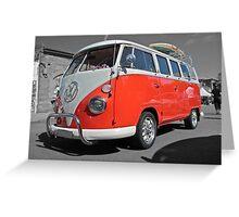 Orange Volkswagen Kombi with surfboard. Greeting Card
