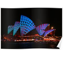 Opera House In Blue & Red Poster