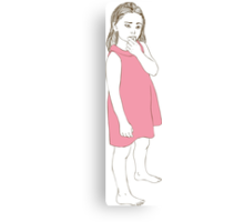 Little girl in a pink dress Canvas Print