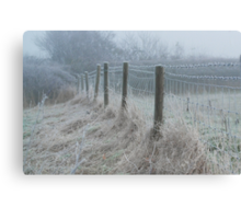 The ice covered rickety fence Canvas Print