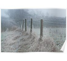 The ice covered rickety fence Poster