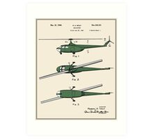 Helicopter Patent - Colour Art Print
