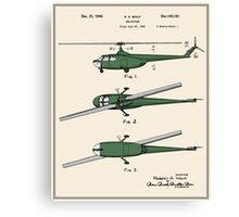 Helicopter Patent - Colour Canvas Print
