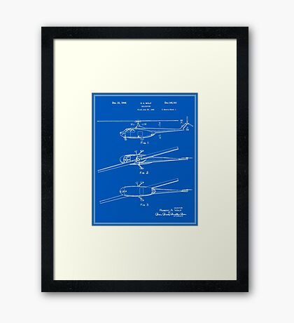 Helicopter Patent - Blueprint Framed Print