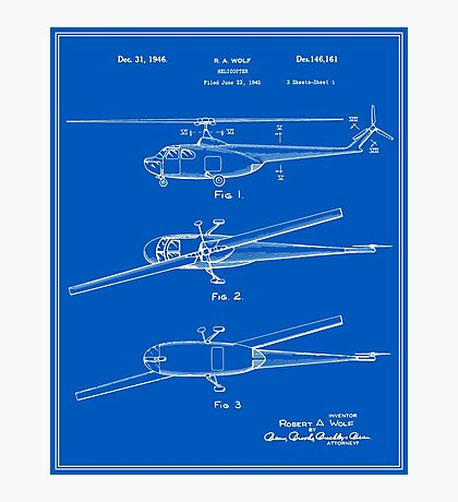 Helicopter Patent - Blueprint Photographic Print