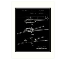 Helicopter Patent - Black Art Print