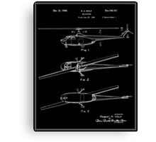 Helicopter Patent - Black Canvas Print