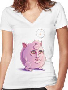 Jigglypuff Women's Fitted V-Neck T-Shirt