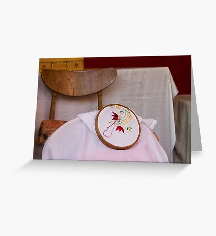 tambourine embroidery Greeting Card