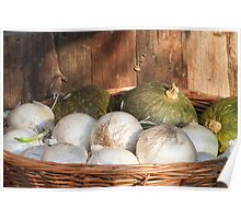 onions and pumpkins in the basket Poster