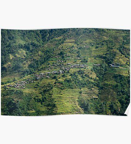 Terraced Village Poster