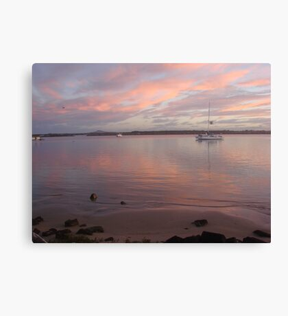 Calm Pink Boat Sunset Canvas Print