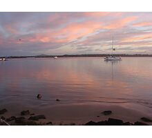 Calm Pink Boat Sunset Photographic Print