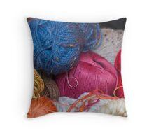 wool in basket Throw Pillow