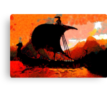 A Viking Longship at Sunset - all products Canvas Print