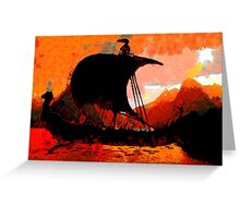 A Viking Longship at Sunset - all products Greeting Card