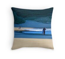 Surfers on Garie Beach Throw Pillow