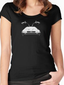 Delorean (White) Women's Fitted Scoop T-Shirt