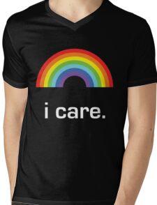 Sichuan Earthquake Rainbow White I Care Mens V-Neck T-Shirt