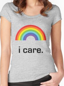 Sichuan Earthquake Rainbow Black I Care Women's Fitted Scoop T-Shirt