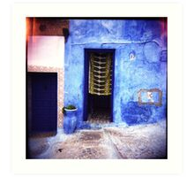 Blue Wall with Green Curtain Art Print