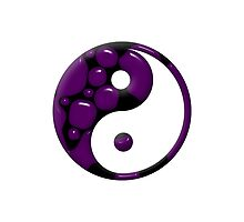 Purple and Black Droplets Yin Yang Symbol by TigerLynx