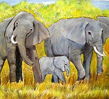 Out of Africa Elephant group acrylic painting by Coolart by coolart