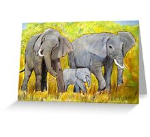 Out of Africa Elephant group acrylic painting by Coolart Greeting Card