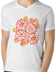 BONNY FLOWERS /RED Mens V-Neck T-Shirt