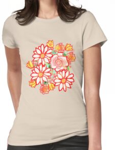 BONNY FLOWERS /RED Womens Fitted T-Shirt