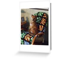 Sporty in his favorite chair Greeting Card