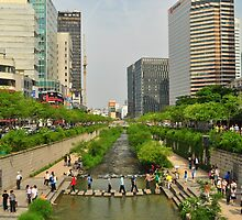 Crossing The Cheonggyecheon by Christian Eccleston
