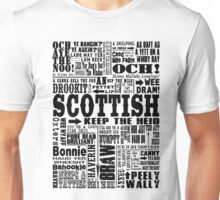 Scottish Sayings Print Black Unisex T-Shirt