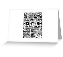 Scottish Sayings Print Black Greeting Card