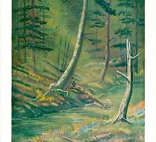 Deep Woods - Racoons Playing - Acrylics on Canvas by Gordon Pegler