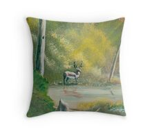 Deep Woods - Buck in the woods - Acrylic Paint on Canvas Throw Pillow