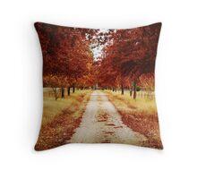 Autumn driveway Throw Pillow