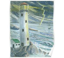 Lighthouse - Oil Pastels  Poster