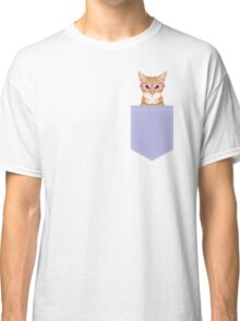 Mackenzie - Orange tabby cute girly cat with hipster glasses and purple pastel lavender for art prints cell phone trendy girls  Classic T-Shirt