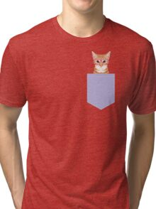Mackenzie - Orange tabby cute girly cat with hipster glasses and purple pastel lavender for art prints cell phone trendy girls  Tri-blend T-Shirt