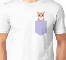 Mackenzie - Orange tabby cute girly cat with hipster glasses and purple pastel lavender for art prints cell phone trendy girls  Unisex T-Shirt