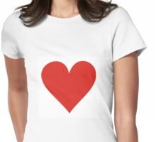Red heart on white Womens Fitted T-Shirt