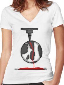 Bleeding Earth  Women's Fitted V-Neck T-Shirt