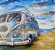 VW Volkswagen Campervan on beach by mattoakley