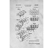 Lego original patent art for toy bricks Photographic Print