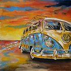 VW Volkswagen Campervan at Sunset by mattoakley