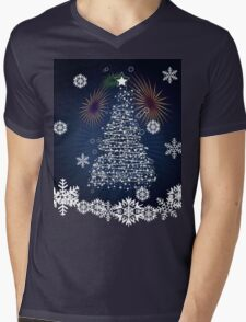 Winter holiday card with abstract Christmas tree and decorative snowflakes Mens V-Neck T-Shirt